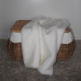 Faux Fur Blanket Blanc